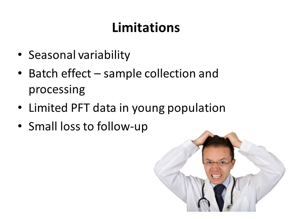 Limitations Seasonal variability Batch effect – sample collection and processing Limited PFT data in young population Small loss to follow-up