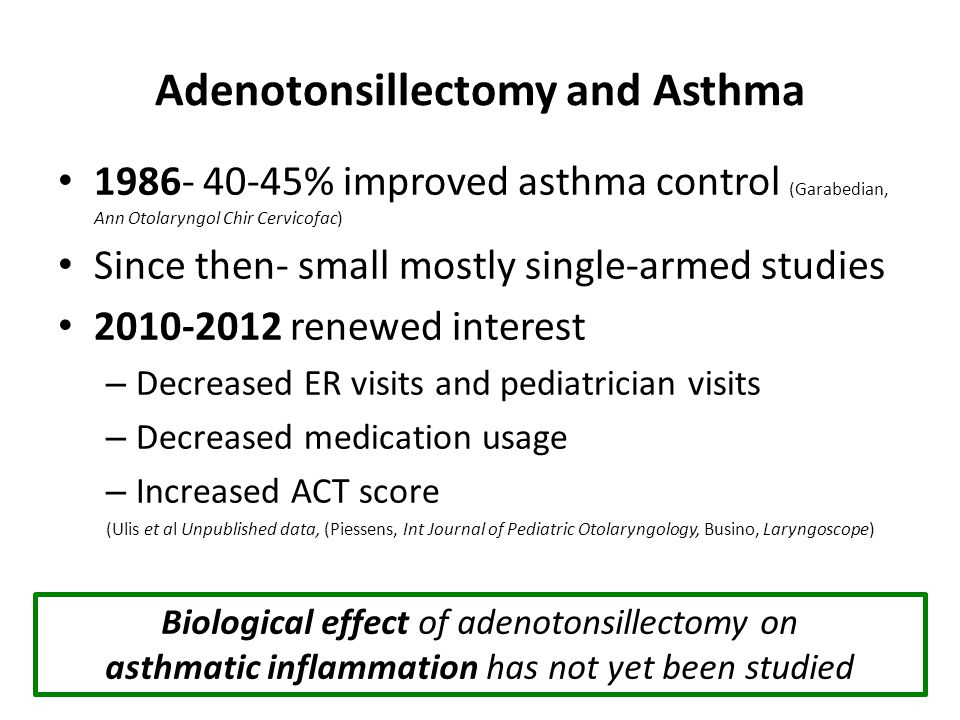 Adenotonsillectomy and Asthma 1986- 40-45% improved asthma control (Garabedian, Ann Otolaryngol Chir Cervicofac) Since then- small mostly single-armed studies 2010-2012 renewed interest – Decreased ER visits and pediatrician visits – Decreased medication usage – Increased ACT score (Ulis et al Unpublished data, (Piessens, Int Journal of Pediatric Otolaryngology, Busino, Laryngoscope) Biological effect of adenotonsillectomy on asthmatic inflammation has not yet been studied