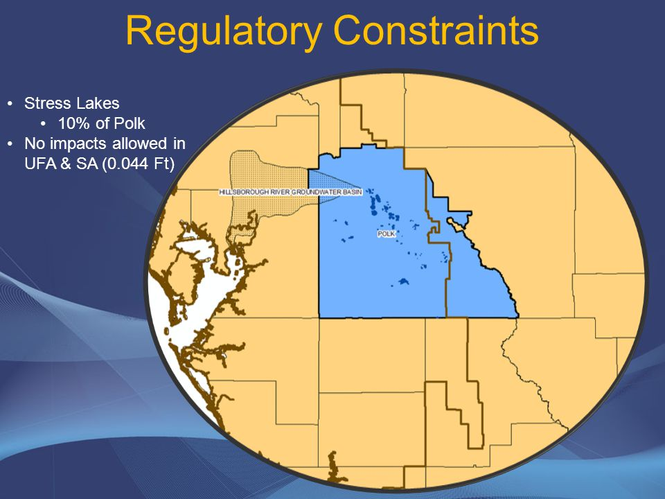 Regulatory Constraints Southern Water Use Caution Area 45% of Polk No impacts on the Most Impacted Area