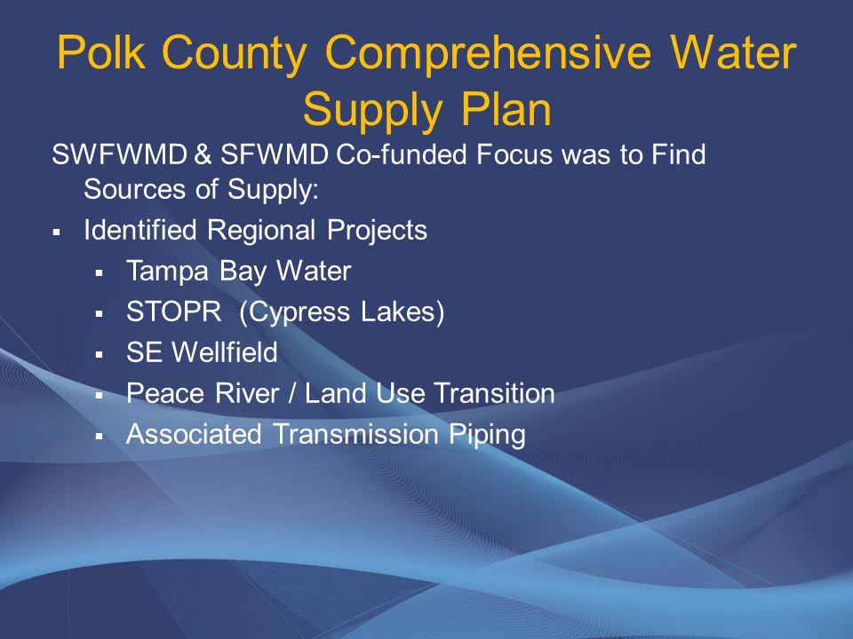2018 110.8 MGD Water Demand Permitted Public Water Supply Projected Deficit 2019 114.2 MGD Project Water Demands – County Wide