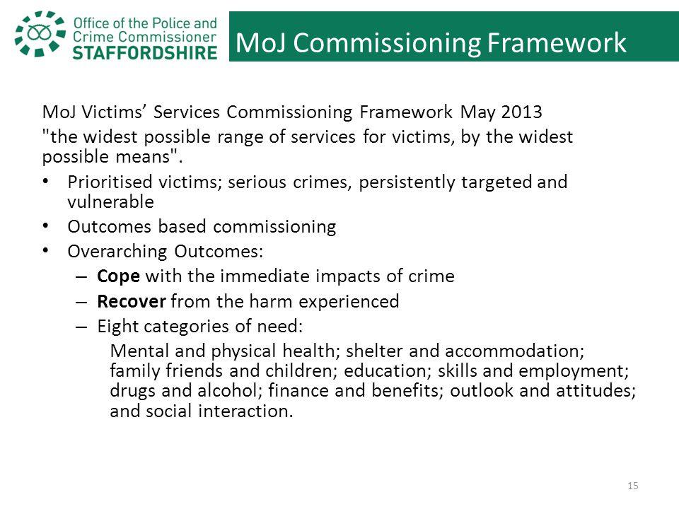 MoJ Commissioning Framework MoJ Victims' Services Commissioning Framework May 2013 the widest possible range of services for victims, by the widest possible means .