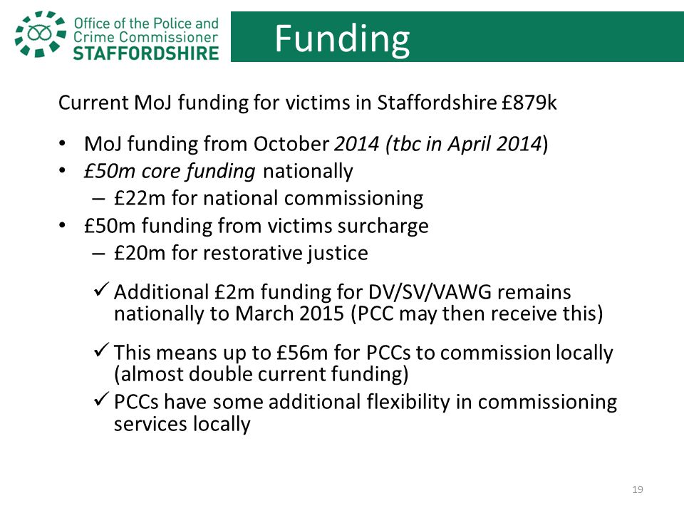 Funding Current MoJ funding for victims in Staffordshire £879k MoJ funding from October 2014 (tbc in April 2014) £50m core funding nationally – £22m for national commissioning £50m funding from victims surcharge – £20m for restorative justice Additional £2m funding for DV/SV/VAWG remains nationally to March 2015 (PCC may then receive this) This means up to £56m for PCCs to commission locally (almost double current funding) PCCs have some additional flexibility in commissioning services locally 19