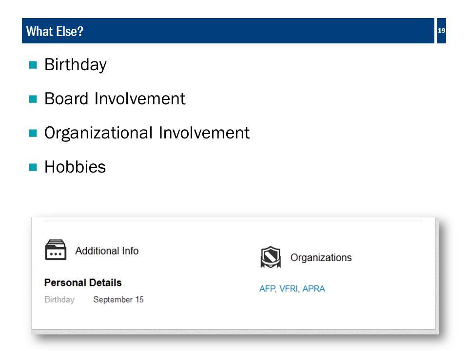 19 What Else?  Birthday  Board Involvement  Organizational Involvement  Hobbies