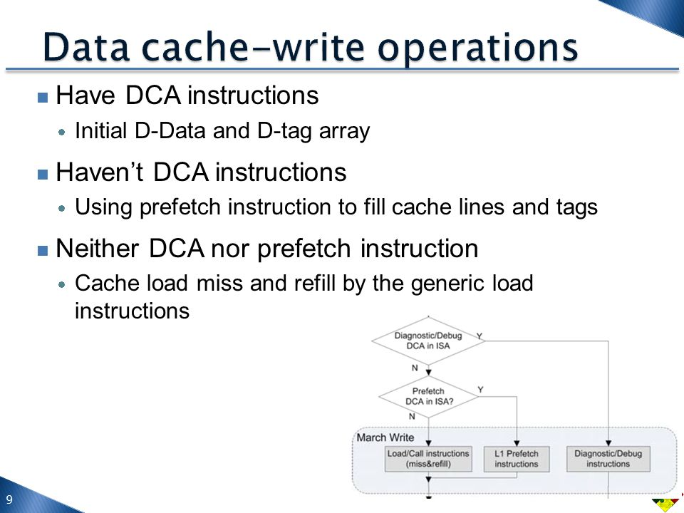 Have DCA instructions  Initial D-Data and D-tag array Haven't DCA instructions  Using prefetch instruction to fill cache lines and tags Neither DCA