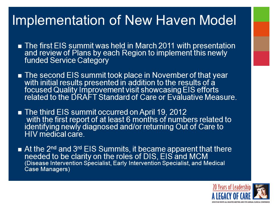 The first EIS summit was held in March 2011 with presentation and review of Plans by each Region to implement this newly funded Service Category The second EIS summit took place in November of that year with initial results presented in addition to the results of a focused Quality Improvement visit showcasing EIS efforts related to the DRAFT Standard of Care or Evaluative Measure.