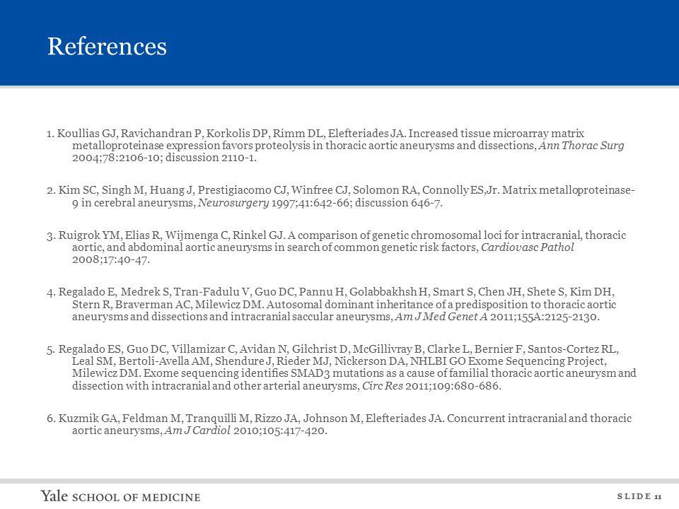 S L I D E 11 References 1. Koullias GJ, Ravichandran P, Korkolis DP, Rimm DL, Elefteriades JA.
