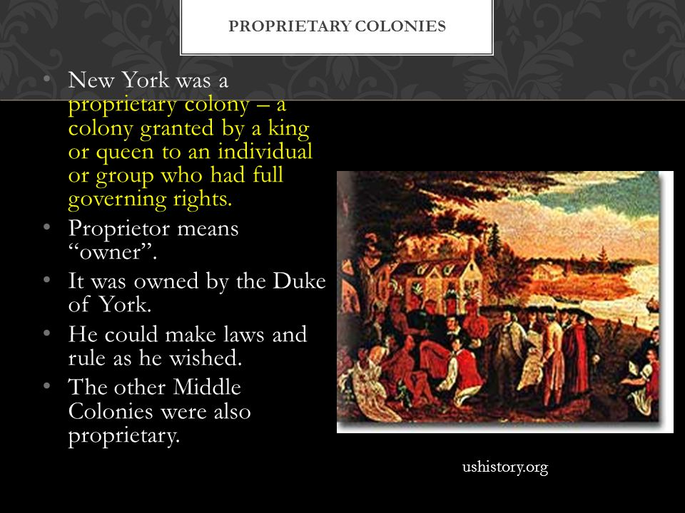 New York was a proprietary colony – a colony granted by a king or queen to an individual or group who had full governing rights.