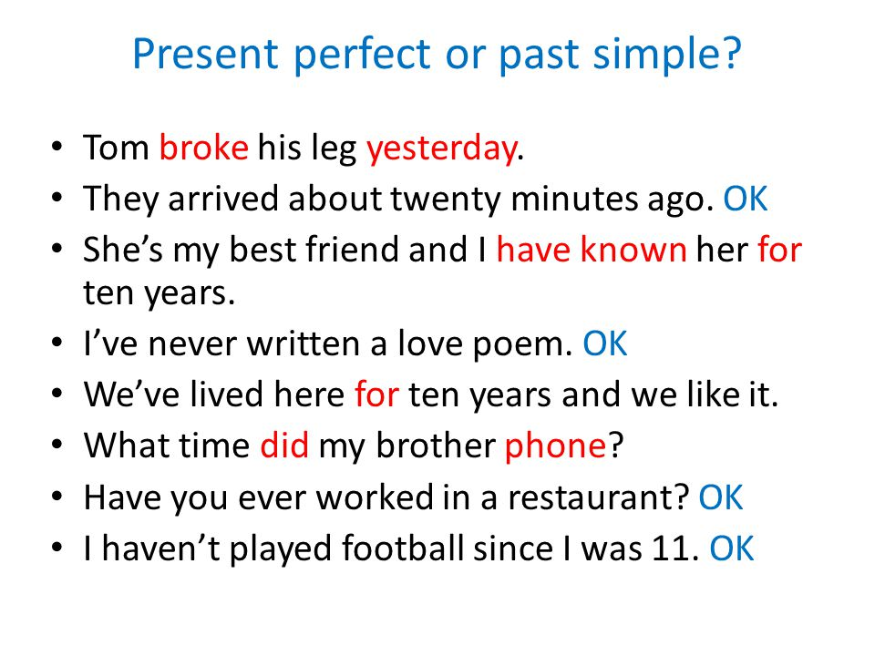 Present perfect or past simple. Tom broke his leg yesterday.