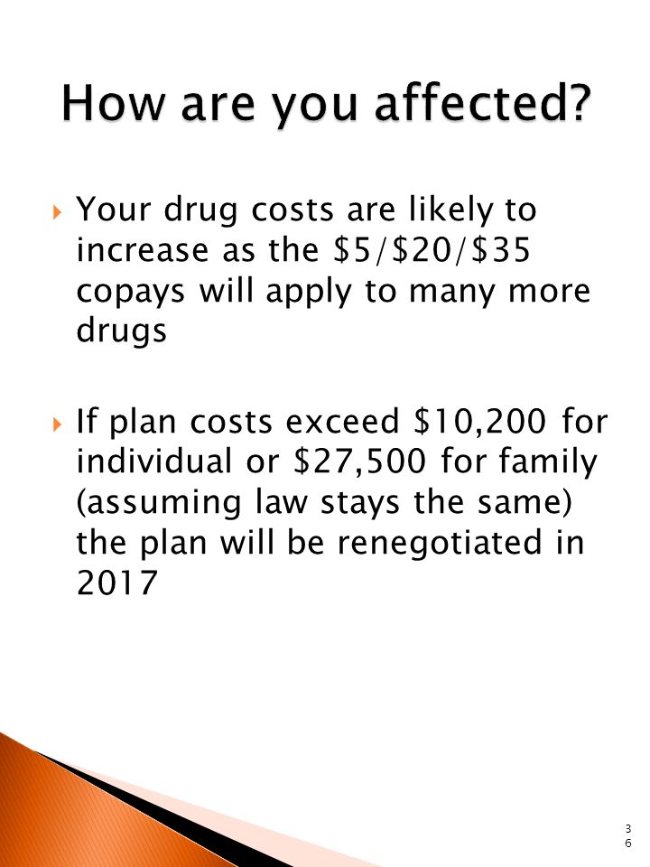  Your drug costs are likely to increase as the $5/$20/$35 copays will apply to many more drugs  If plan costs exceed $10,200 for individual or $27,500 for family (assuming law stays the same) the plan will be renegotiated in 2017 36