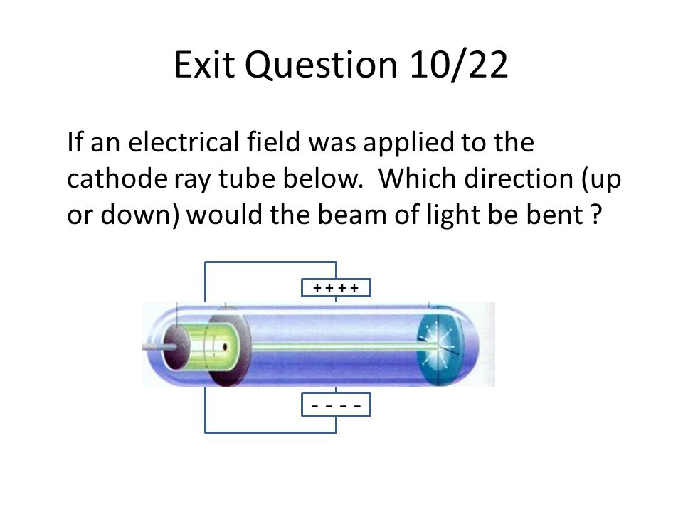 Exit Question 10/22 If an electrical field was applied to the cathode ray tube below. Which direction (up or down) would the beam of light be bent ? +