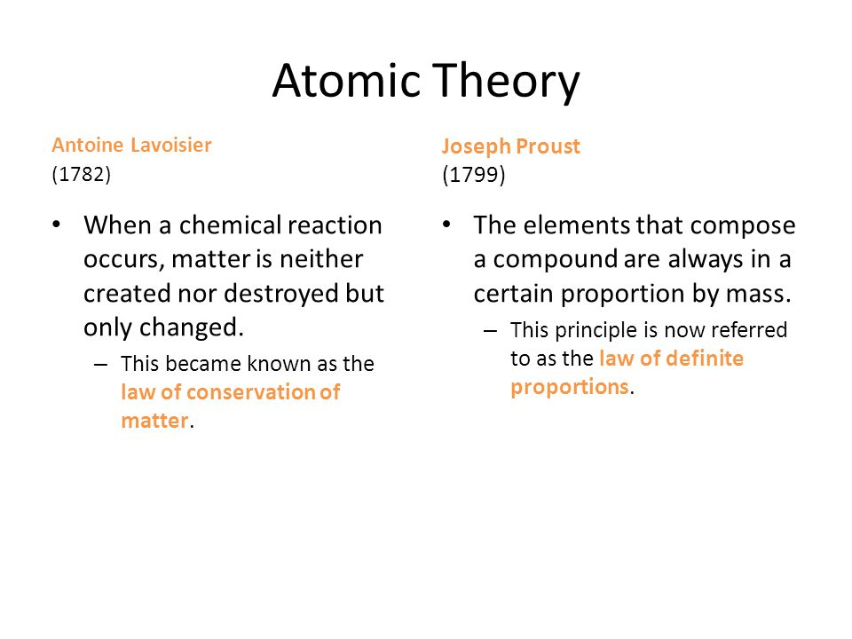 Atomic Theory Antoine Lavoisier (1782) When a chemical reaction occurs, matter is neither created nor destroyed but only changed. – This became known