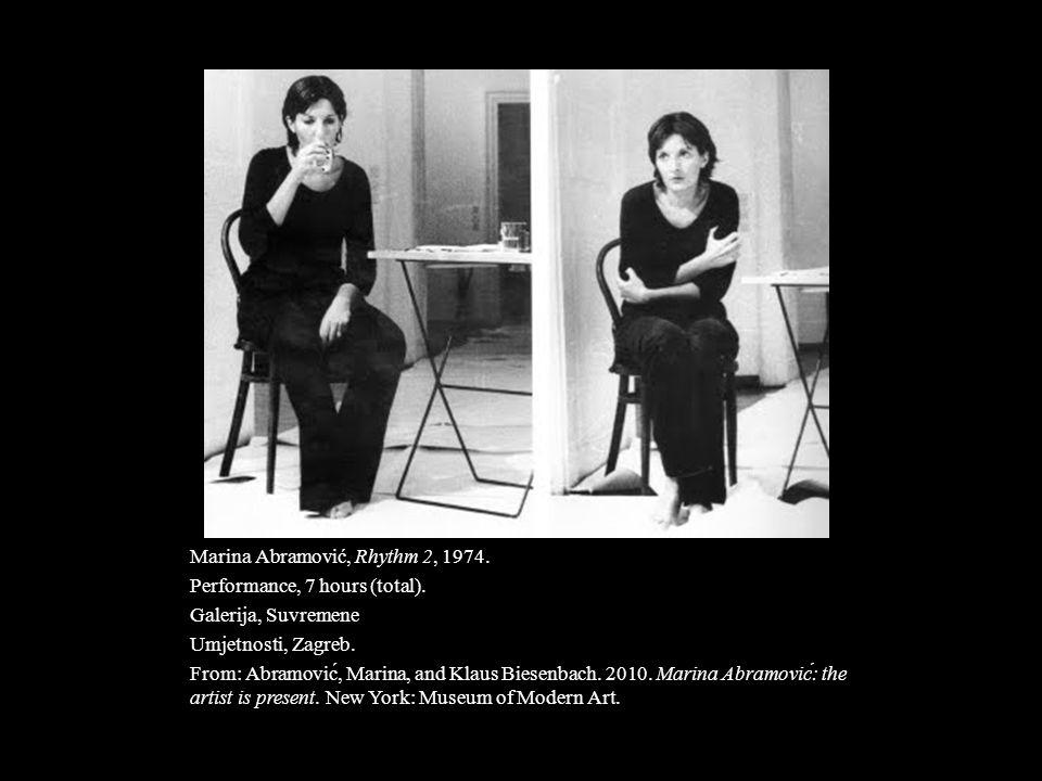 Marina Abramović, Rhythm 2, 1974. Performance, 7 hours (total). Galerija, Suvremene Umjetnosti, Zagreb. From: Abramović, Marina, and Klaus Biesenbach