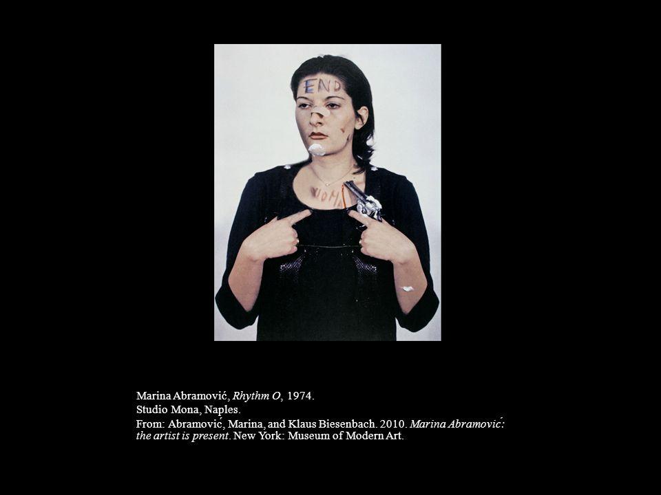 Marina Abramović, Rhythm O, 1974. Studio Mona, Naples. From: Abramović, Marina, and Klaus Biesenbach. 2010. Marina Abramović: the artist is present.