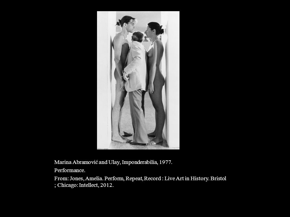 Marina Abramović and Ulay, Imponderabilia, 1977. Performance. From: Jones, Amelia. Perform, Repeat, Record : Live Art in History. Bristol ; Chicago: I