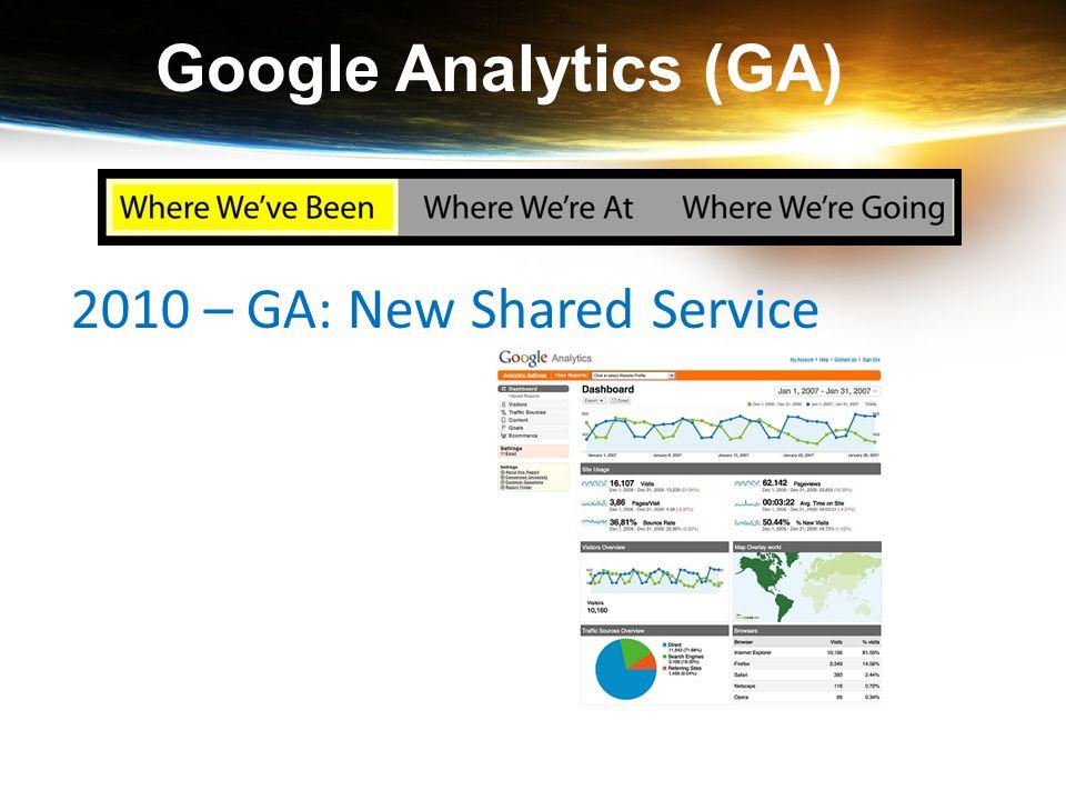Google Analytics (GA) 2010 – GA: New Shared Service