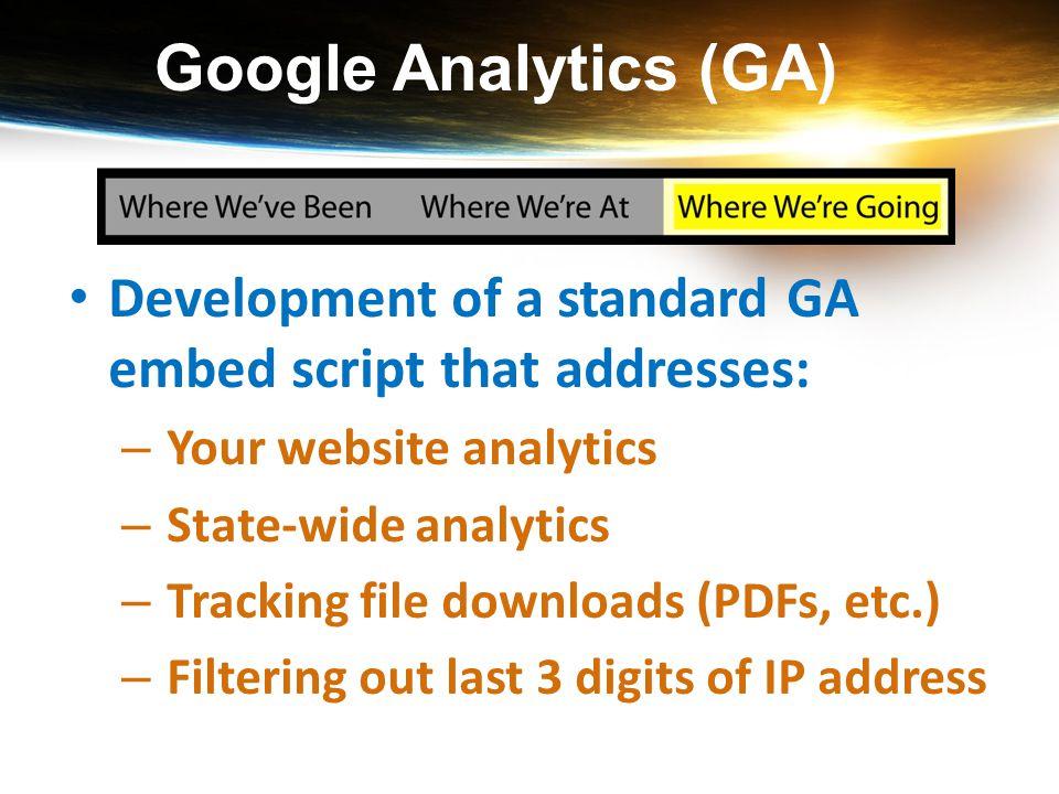 Google Analytics (GA) Development of a standard GA embed script that addresses: – Your website analytics – State-wide analytics – Tracking file downlo