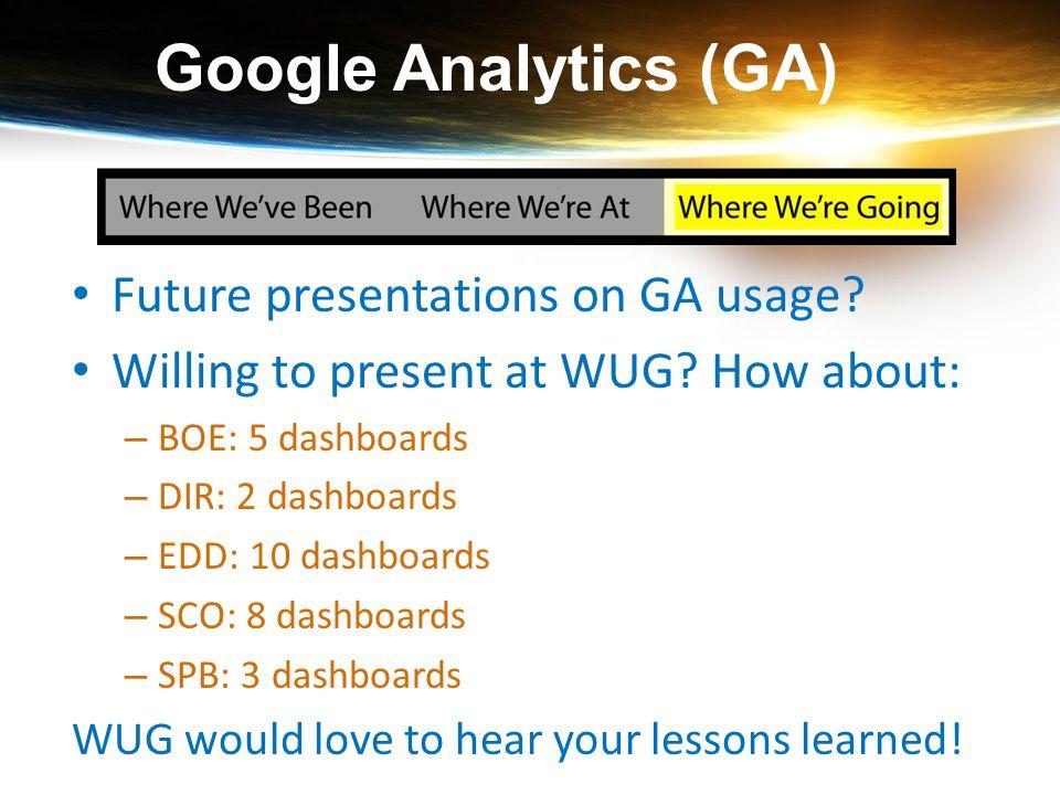 Google Analytics (GA) Future presentations on GA usage? Willing to present at WUG? How about: – BOE: 5 dashboards – DIR: 2 dashboards – EDD: 10 dashbo