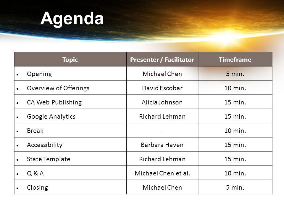 Agenda TopicPresenter / FacilitatorTimeframe  Opening Michael Chen5 min.  Overview of Offerings David Escobar10 min.  CA Web Publishing Alicia John