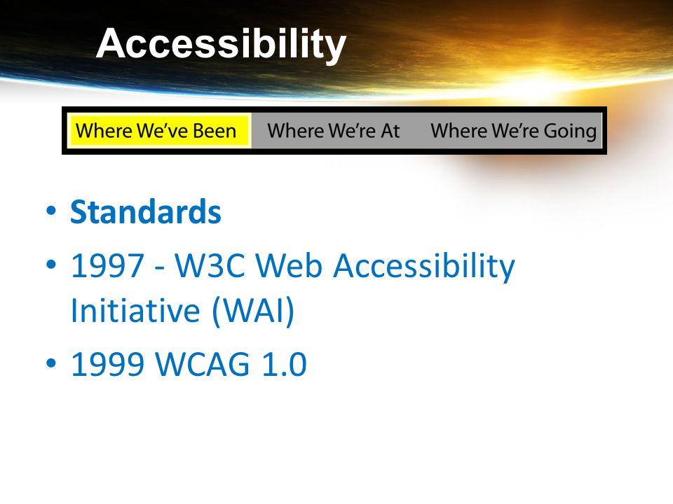 Accessibility Standards 1997 - W3C Web Accessibility Initiative (WAI) 1999 WCAG 1.0