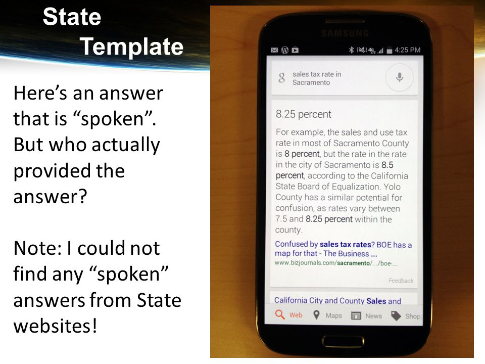 """State Template Here's an answer that is """"spoken"""". But who actually provided the answer? Note: I could not find any """"spoken"""" answers from State website"""