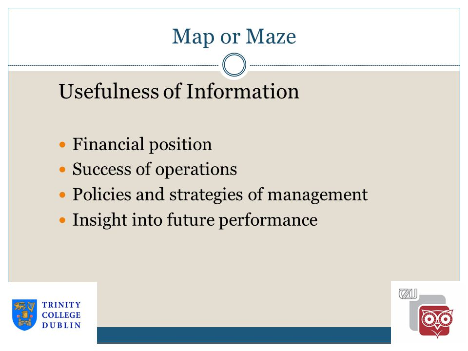 Map or Maze 1-13 Usefulness of Information Financial position Success of operations Policies and strategies of management Insight into future performance