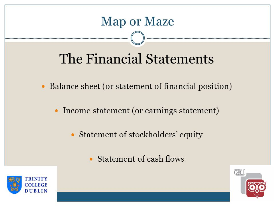 Map or Maze 1-17 The Financial Statements Balance sheet (or statement of financial position) Income statement (or earnings statement) Statement of stockholders' equity Statement of cash flows