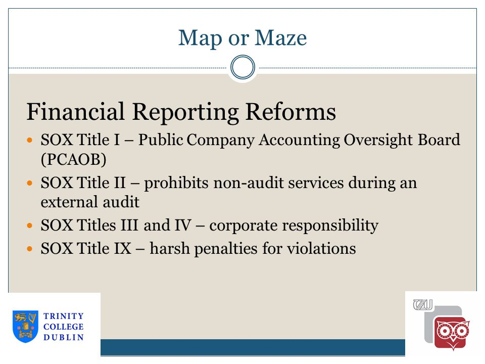 Map or Maze 1-21 Financial Reporting Reforms SOX Title I – Public Company Accounting Oversight Board (PCAOB) SOX Title II – prohibits non-audit services during an external audit SOX Titles III and IV – corporate responsibility SOX Title IX – harsh penalties for violations
