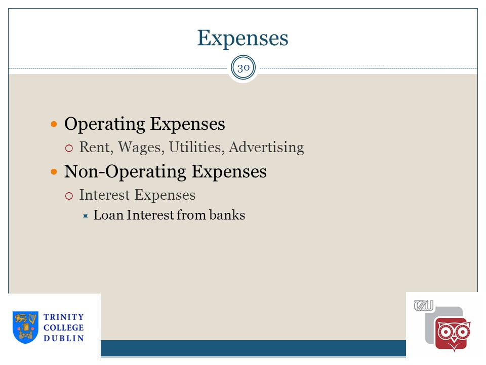 Expenses 30 Operating Expenses  Rent, Wages, Utilities, Advertising Non-Operating Expenses  Interest Expenses  Loan Interest from banks