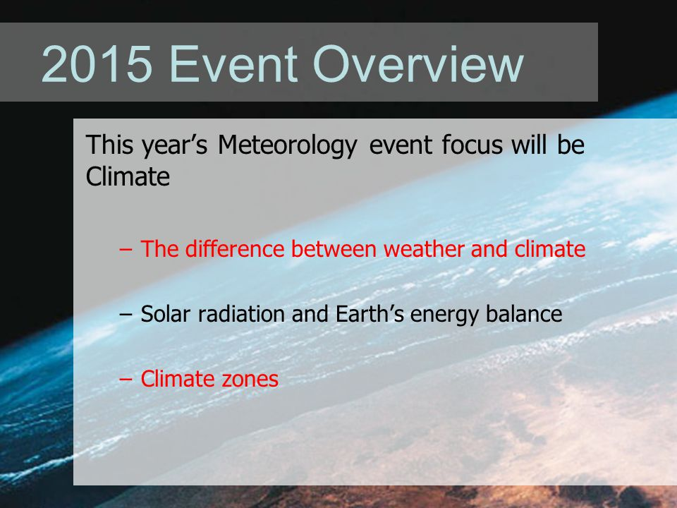 2015 Event Overview This year's Meteorology event focus will be Climate –The difference between weather and climate –Solar radiation and Earth's energy balance –Climate zones