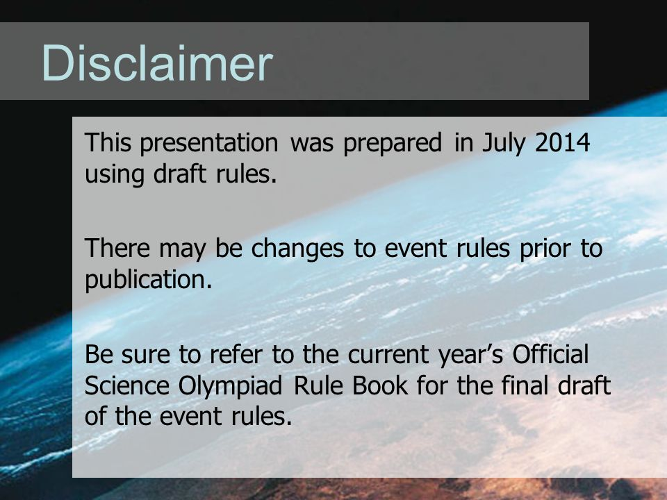 Disclaimer This presentation was prepared in July 2014 using draft rules.