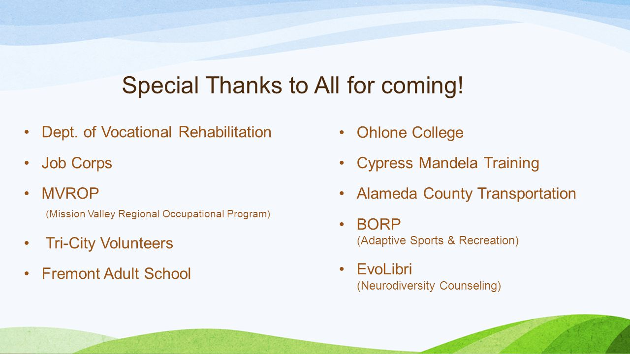 Special Thanks to All for coming! Dept. of Vocational Rehabilitation Job Corps MVROP (Mission Valley Regional Occupational Program) Tri-City Volunteer