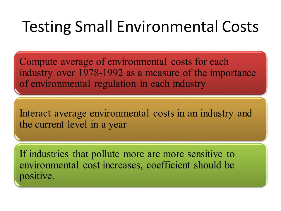 Testing Small Environmental Costs Compute average of environmental costs for each industry over 1978-1992 as a measure of the importance of environmen