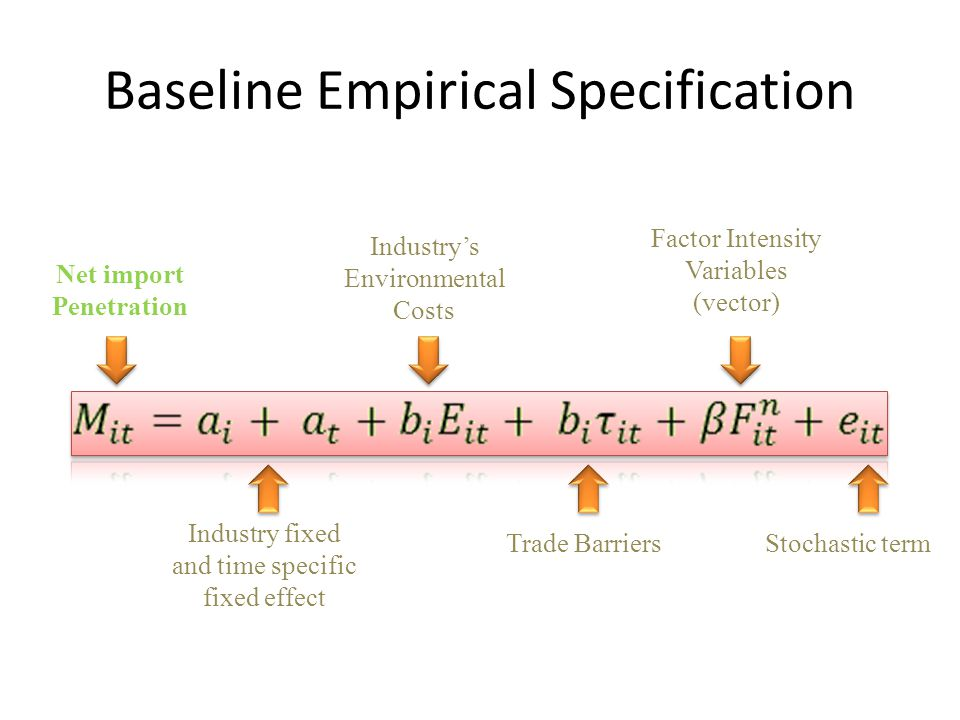Baseline Empirical Specification Net import Penetration Industry fixed and time specific fixed effect Industry's Environmental Costs Trade Barriers Factor Intensity Variables (vector) Stochastic term