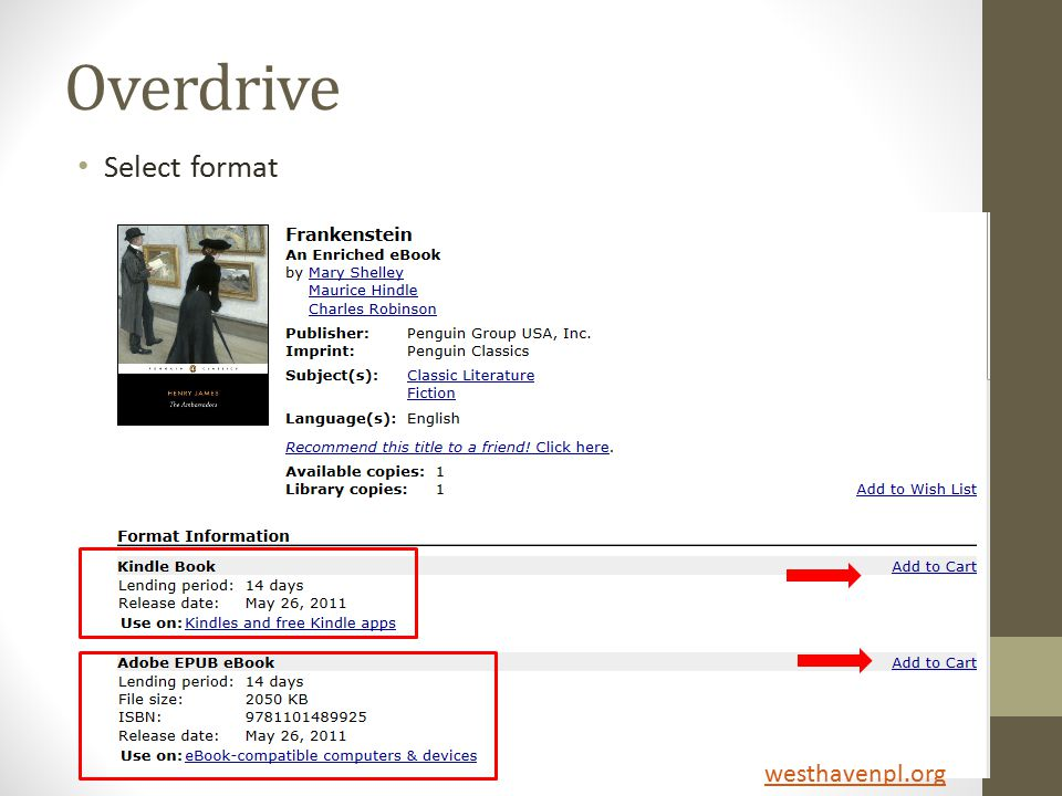 Overdrive Select format westhavenpl.org