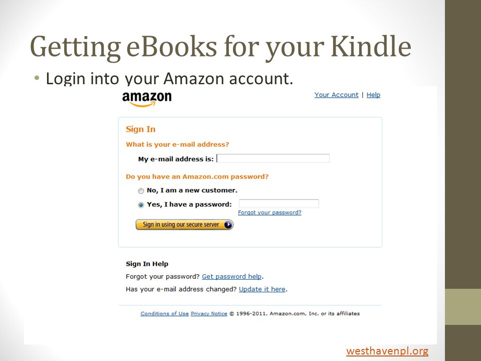 Getting eBooks for your Kindle Login into your Amazon account. westhavenpl.org