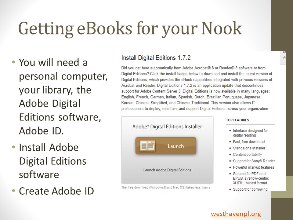 Getting eBooks for your Nook You will need a personal computer, your library, the Adobe Digital Editions software, Adobe ID.
