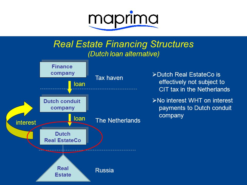  Dutch Real EstateCo is effectively not subject to CIT tax in the Netherlands  No interest WHT on interest payments to Dutch conduit company  Only small pick-up at Dutch conduit company (interest spread)  No interest WHT on interest payments to Finance company  No CIT tax on interest in Tax haven Russia Finance company Finance company The Netherlands Real Estate Financing Structures (Dutch loan alternative) Dutch conduit company Dutch conduit company Real Estate Dutch Real EstateCo Dutch Real EstateCo loan Tax haven interest
