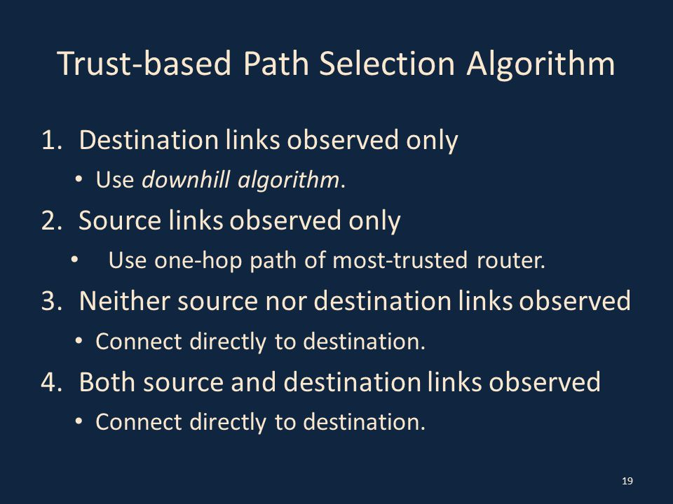 Trust-based Path Selection Algorithm 1.Destination links observed only Use downhill algorithm.