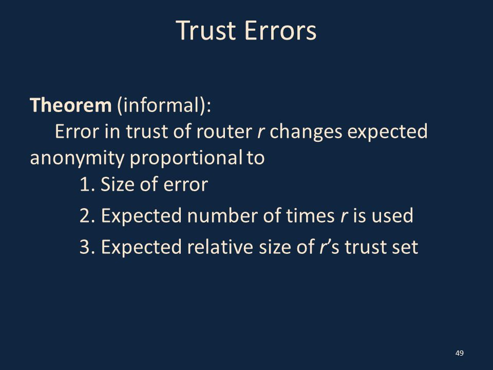Trust Errors Theorem (informal): Error in trust of router r changes expected anonymity proportional to 1.