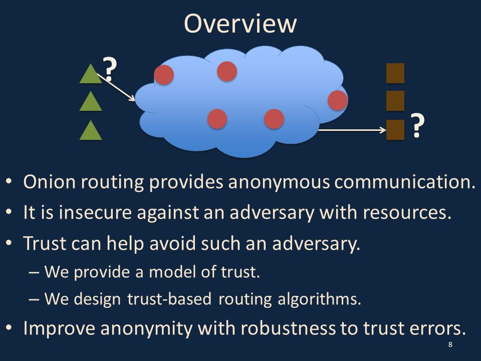 Downhill Algorithm 29 1.Set path length l and trust levels λ 1,…, λ l to optimize expectation of anonymity metric.