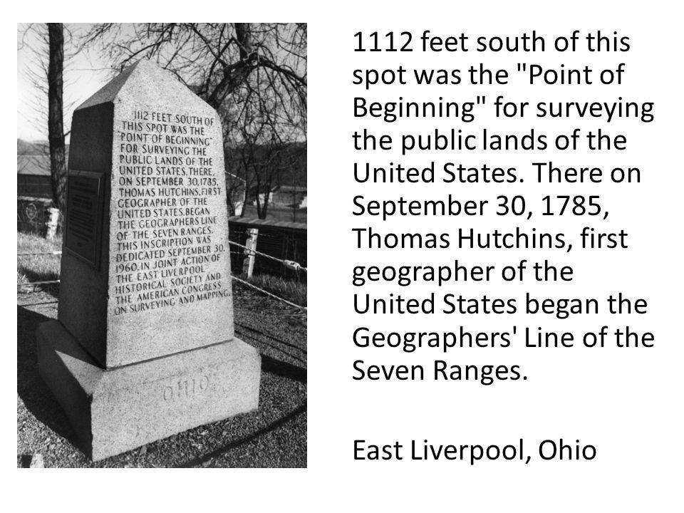 1112 feet south of this spot was the Point of Beginning for surveying the public lands of the United States.