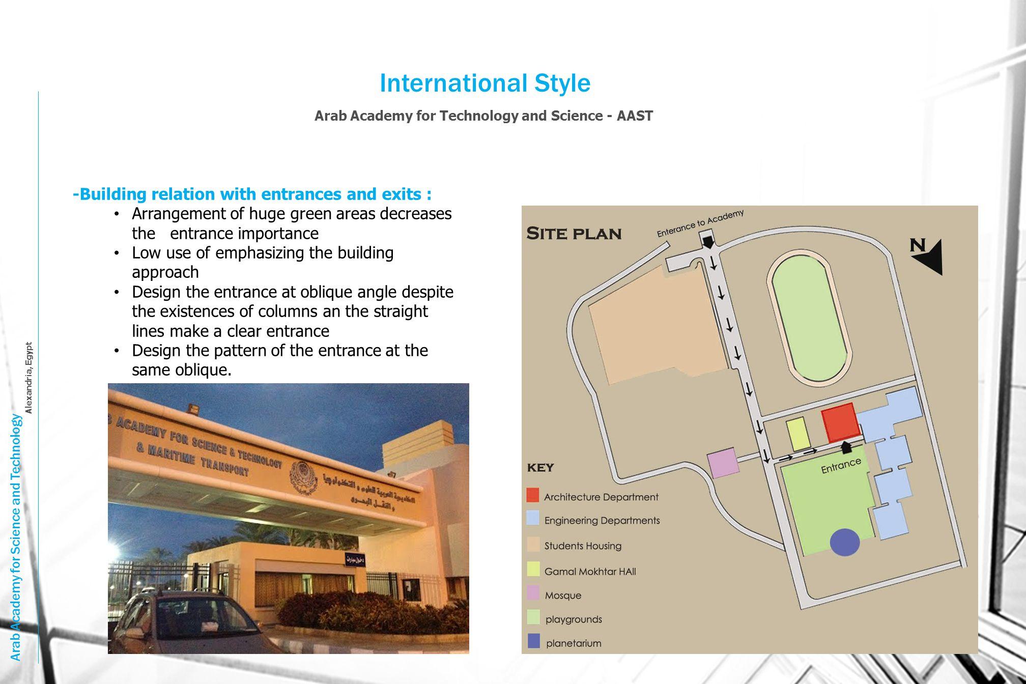 International Style Arab Academy for Technology and Science - AAST Arab Academy for Science and Technology Alexandria, Egypt