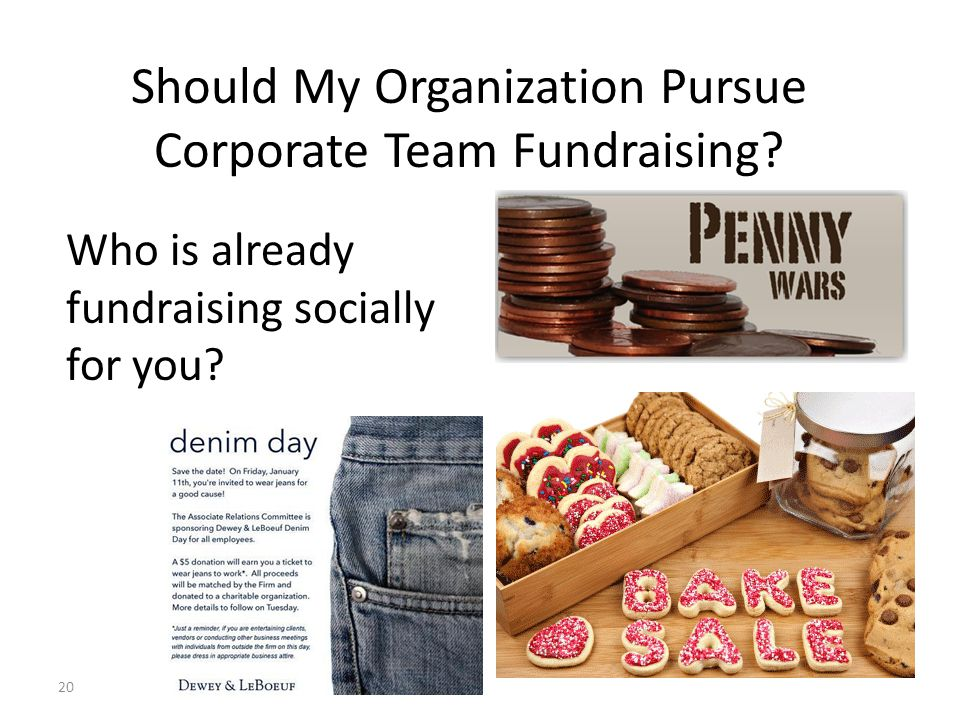 Who is already fundraising socially for you? 20 Should My Organization Pursue Corporate Team Fundraising?