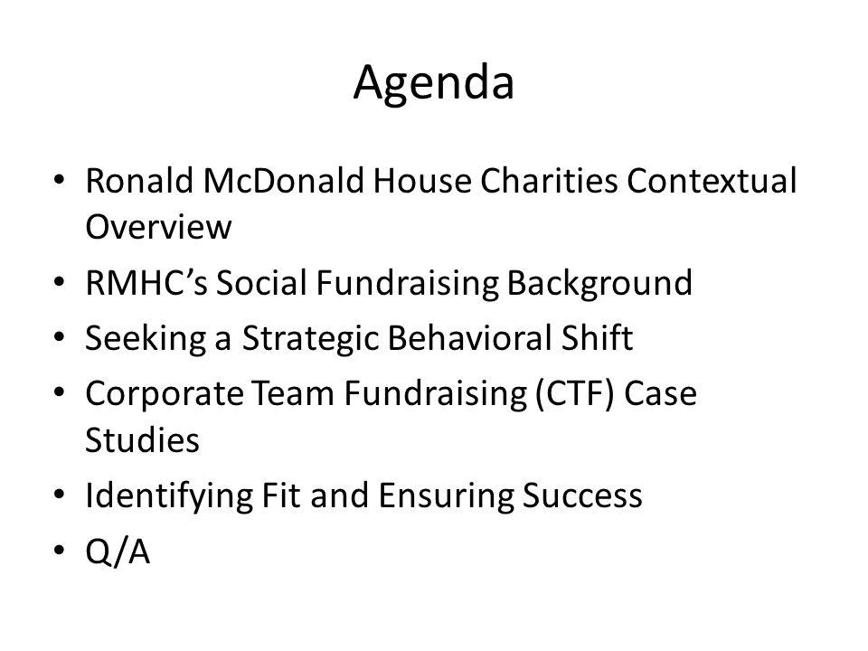 Agenda Ronald McDonald House Charities Contextual Overview RMHC's Social Fundraising Background Seeking a Strategic Behavioral Shift Corporate Team Fu