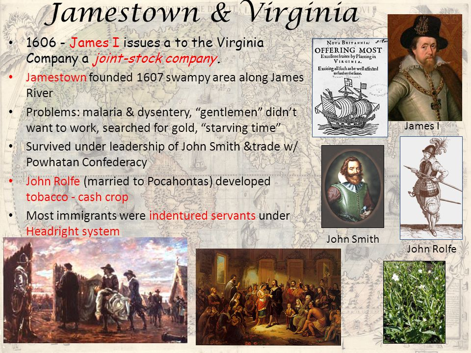 Plymouth Founded for more religious reasons – Puritan Separatist pilgrims – based on Calvinism – belief in predestination 1620 Mayflower – 100 passengers– less than half Separatists – permission from VA Company but landed in Massachusetts.
