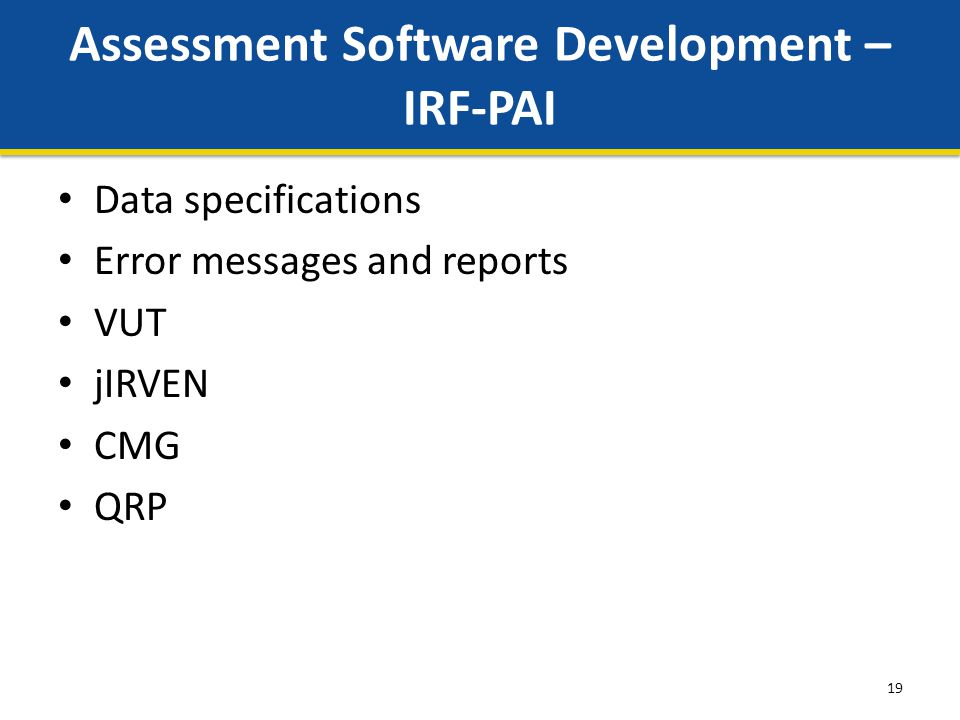 19 Assessment Software Development – IRF-PAI Data specifications Error messages and reports VUT jIRVEN CMG QRP