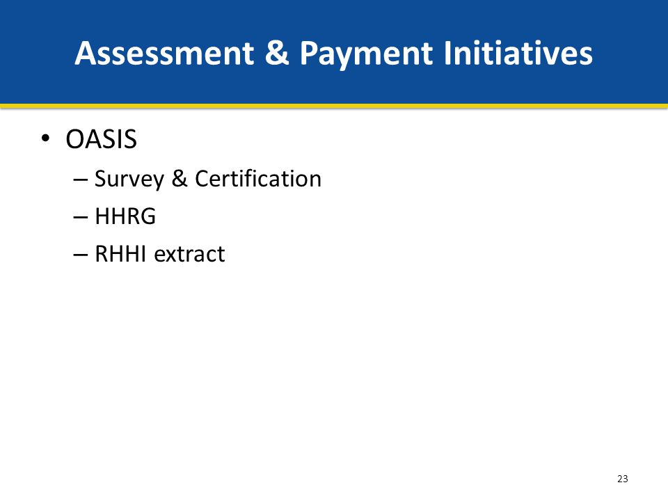23 Assessment & Payment Initiatives OASIS – Survey & Certification – HHRG – RHHI extract