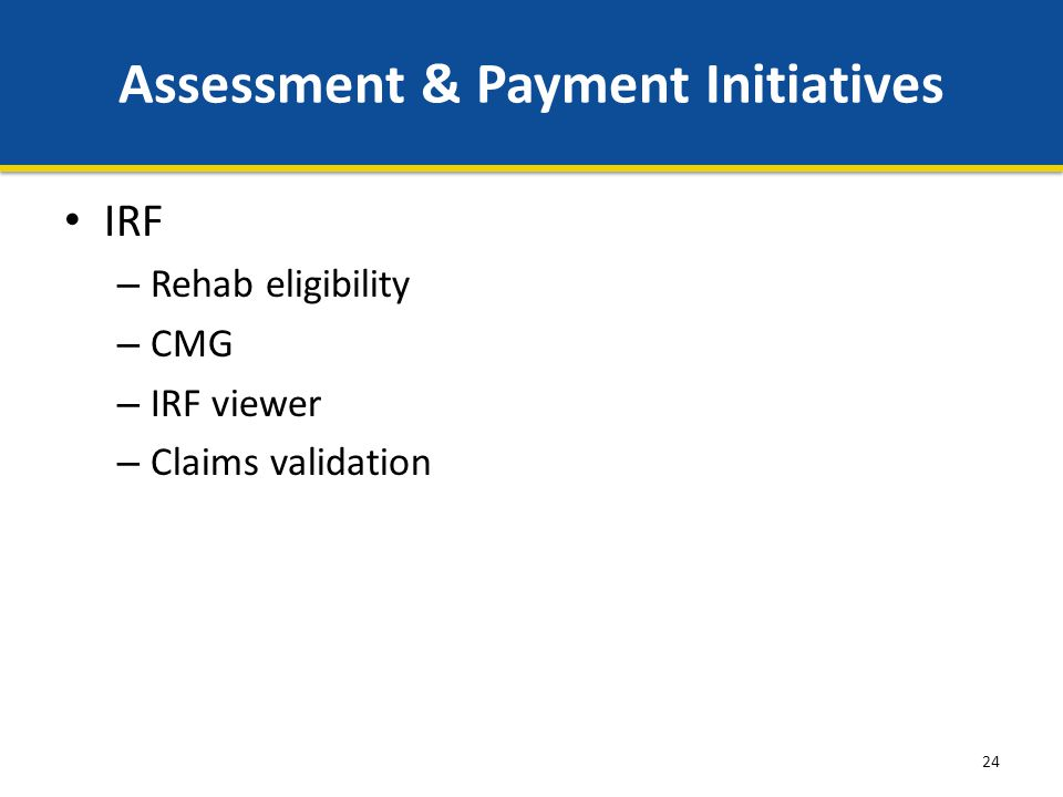 24 Assessment & Payment Initiatives IRF – Rehab eligibility – CMG – IRF viewer – Claims validation