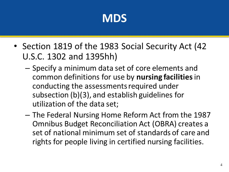 Section 1819 of the 1983 Social Security Act (42 U.S.C.