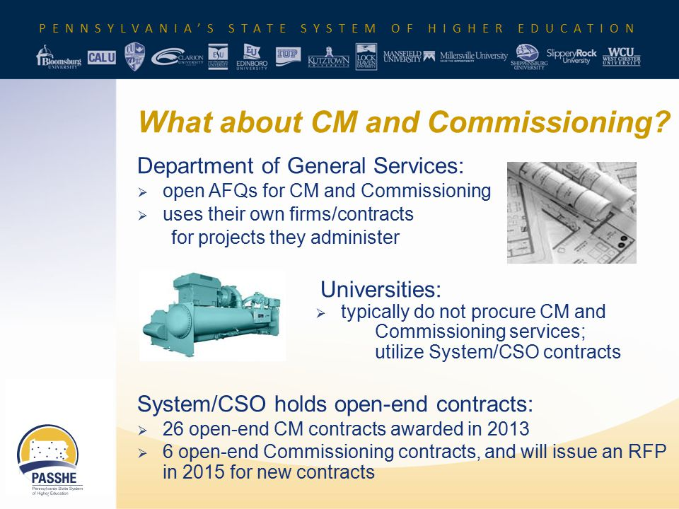 PENNSYLVANIA'S STATE SYSTEM OF HIGHER EDUCATION What about CM and Commissioning? Department of General Services:  open AFQs for CM and Commissioning